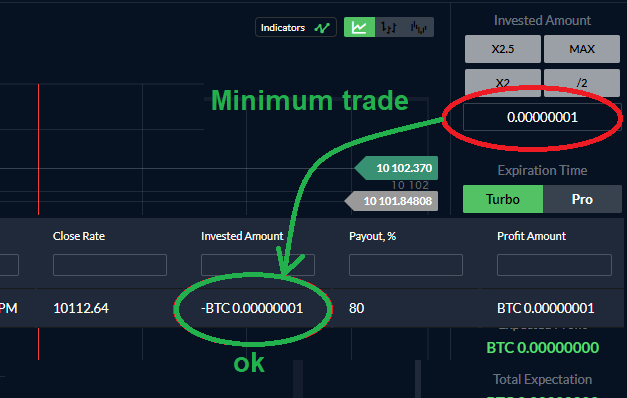 Minimum amount allowed (0.00000001 BTC). The trade is accepted