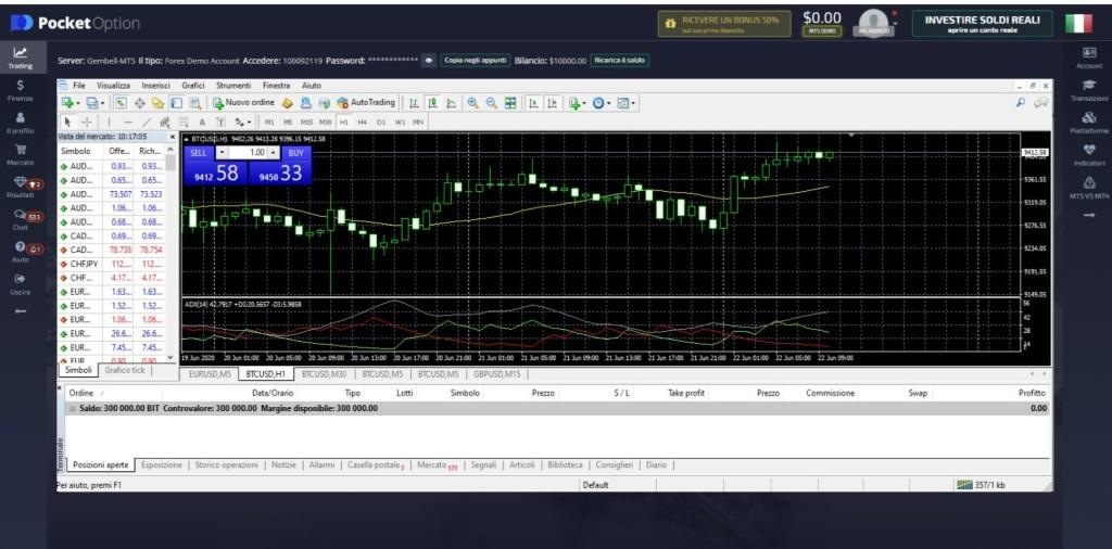 POCKET OPTION METATRADER MAIN SCREEN